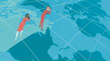 Illustration of two people standing on a map of Canada, both looking through binoculars; one at the United States, the other overseas. (Jori Bolton/The Globe and Mail)