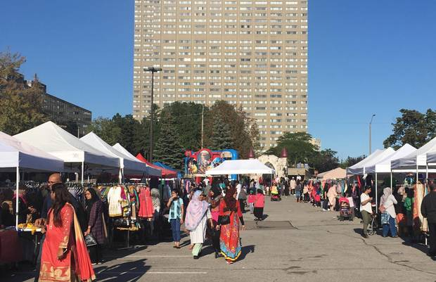 In many tower neighbourhoods, permanent retail is forbidden by zoning; advocates see temporary markets, like this one in the Thorncliffe Park area of Toronto, as an incremental way of allowing entrepreneurship and commerce.