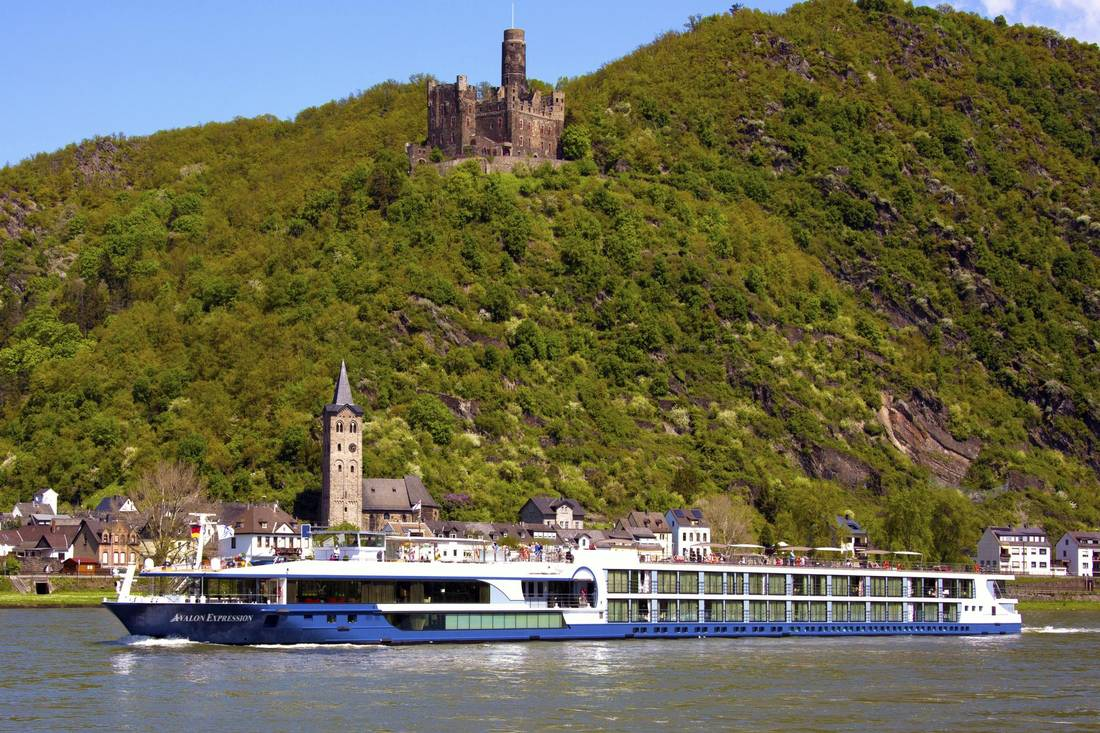 The Rhine River along St. Goarshausen and Mouse Castle.