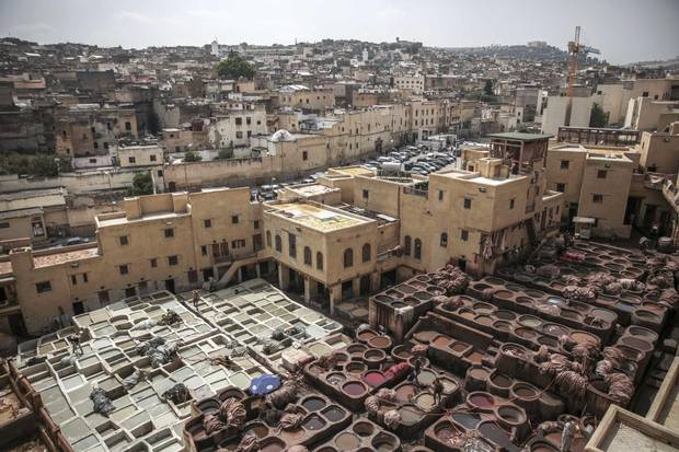 A view of Chouara Tannery, a UNESCO World Hertiage Site, in the heart of the ancient medina of Fez, Morocco, Tuesday, April 25, 2017. The tannery is composed of numerous dried-earth pits filled with a range of dyes and liquids, where raw animal skins are treated, scraped and dyed, turning them into high quality leather products.