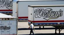 Weston Bakery truck trailers sit in Toronto. (Louie Palu/The Globe and Mail)