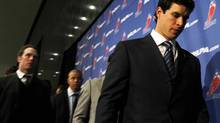 Canadian hockey player Sidney Crosby leaves a press conference at the NHL Players Association offices on Bay St., in the middle of the negotiations aimed to end the NHL lockout Toronto October 18 2012. (Fernando Morales/The Globe and Mail)
