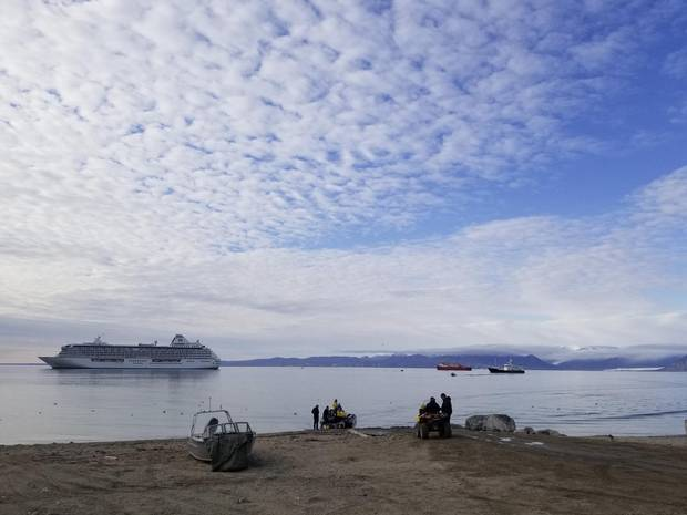Cruise ship, Icebreaker, Private yacht in Pond Inlet.