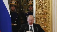 Russian President Vladimir Putin has made speeches about economic reform, but freedom of assembly was sharply curtailed this month. (SERGEI KARPUKHIN/REUTERS)