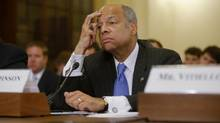 "This June 24, 2014, file photo shows Homeland Security Secretary Jeh Johnson listens while testifying on Capitol Hill in Washington before the House Homeland Security Committee hearing about the growing problem of unaccompanied children crossing the border into the US. On NBC's ""Meet the Press"", Sunday, July 6, 2014, Johnson said that all persons regardless of age face a deportation proceeding if they enter the country illegally. (Charles Dharapak/AP)"
