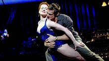 """Holley Farmer and John Selya in a scene from Twyla Tharp's """"Come Fly Away"""" (AP Photo/Joan Marcus)"""