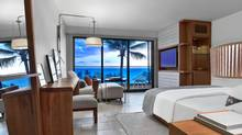 Rooms at the Andaz Maui feature grand views and free minibar items, including Kind bars and Popchips.