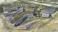The proposed Google corporate headquarters in Mountain View, California, is pictured in this artist's rendering courtesy of NBBJ. (NBBJ Handout/REUTERS)