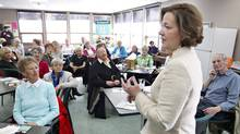 Conservative leader Alison Redford speaks to seniors during a campaign stop at the Westend Seniors Activity Centre in Edmonton, Alta. Friday April 20, 2012. (Jason Franson/THE CANADIAN PRESS)