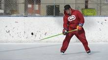 Justin Ballak practises at Alexandra Park, one of 28 city-run, outdoor rinks that are open until March 16. (Fred Lum/The Globe and Mail)