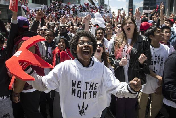 Adeel Abdenur, 12, cheers in Maple Leaf Square outside the Air Canada Centre in Toronto in May, 2014.