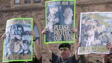 Canadian veterans protest on Parliament Hill in Ottawa, Wednesday June 6, 2012. (Adrian Wyld/THE CANADIAN PRESS)
