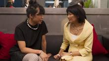 "NDP MP Olivia Chow, right, chats to actress Sook-Yin Lee who plays her in the made-for-television movie ""Jack,"" about late New Democratic Party Leader Jack Layton, at a reception in Toronto on Monday March 4, 2013. (Chris Young/THE CANADIAN PRESS)"