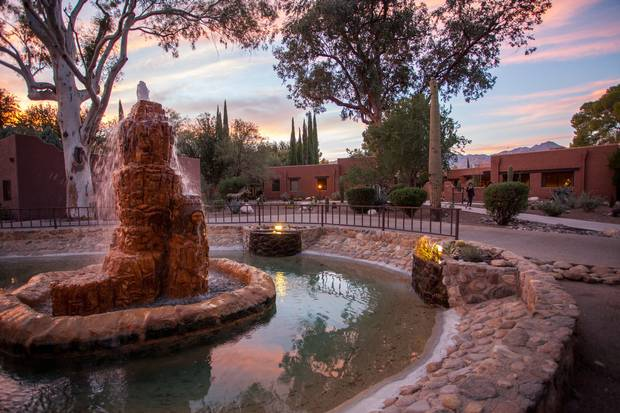 The sun sets over Canyon Ranch in Tucson, Arizona.