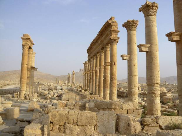 The colonnade of the ancient Syrian city of Palmyra is shown on Aug. 5, 2010.