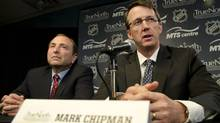 NHL commissioner Gary Bettman and True North Sports and Entertainment Limited chairman Mark Chipman (THE CANADIAN PRESS/David Lipnowski)
