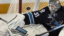 San Jose Sharks goalie Antti Niemi stops a shot during the second period. REUTERS/Mike Blake (MIKE BLAKE)
