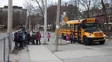 Students arrive at Ogden Junior Public School in Toronto on March 27, 2013. (Matthew Sherwood for The Globe and Mail)