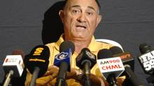Hamilton Tiger-Cats general manager Bob O'Billovich addresses a news conference in Hamilton, Ont., Monday, Sept.8, 2008. (John Rennison/The Canadian Press)