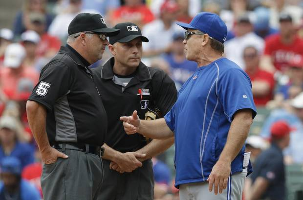 ARLINGTON, TX - MAY 15: Manager John Gibbons of the Toronto Blue Jays after ejected by home plate umpire Dan Iassogna in the third inning at Globe Life Park in Arlington on May 15, 2016 in Arlington, Texas.