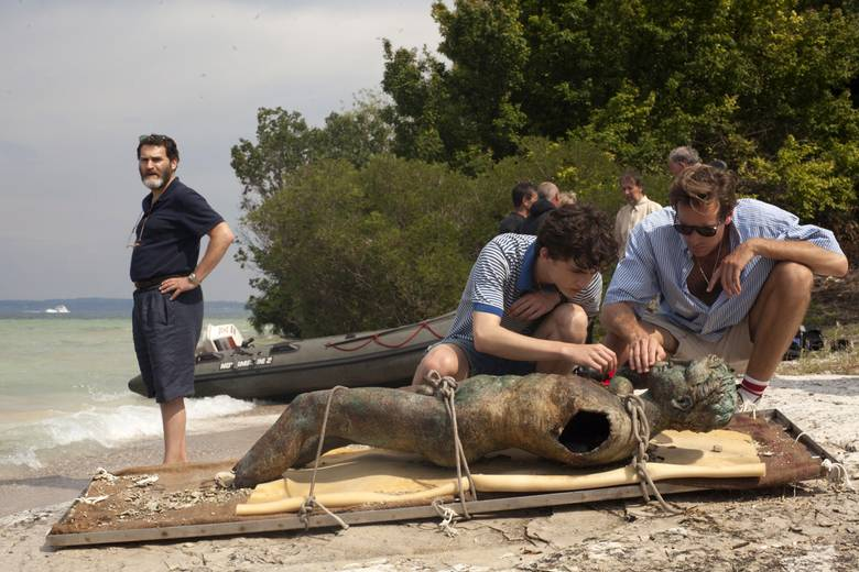 Michael Stuhlbarg, Timothée Chalamet and Armie Hammer in Call Me By Your Name.