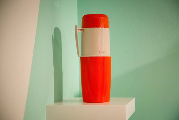 Thermos Flask, 1962: The first Canadian all-plastic vacuum Thermos, designed by Julian Rowan and manufactured in Toronto, was made of heat-resistant polypropylene well before American Thermos models were, setting the industry standard.