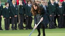 Catherine, the Duchess of Cambridge, visits her alma mater, St. Andrews School, in Pangbourne, England, on Friday. (ARTHUR EDWARDS/ASSOCIATED PRESS)