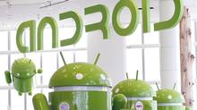 Android mascots are lined up at the Google I/O Developers Conference in San Francisco, Calif., May 10, 2011. (© Beck Diefenbach/REUTERS)