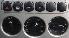 Controls on the air conditioning system of a Ford Escape. (Kevin Van Paassen/Kevin Van Paassen/THE GLOBE AND)