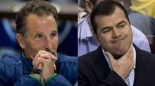 Vancouver Canucks coach John Tortorella and Ne w York Rangers coach Alain Vigneault