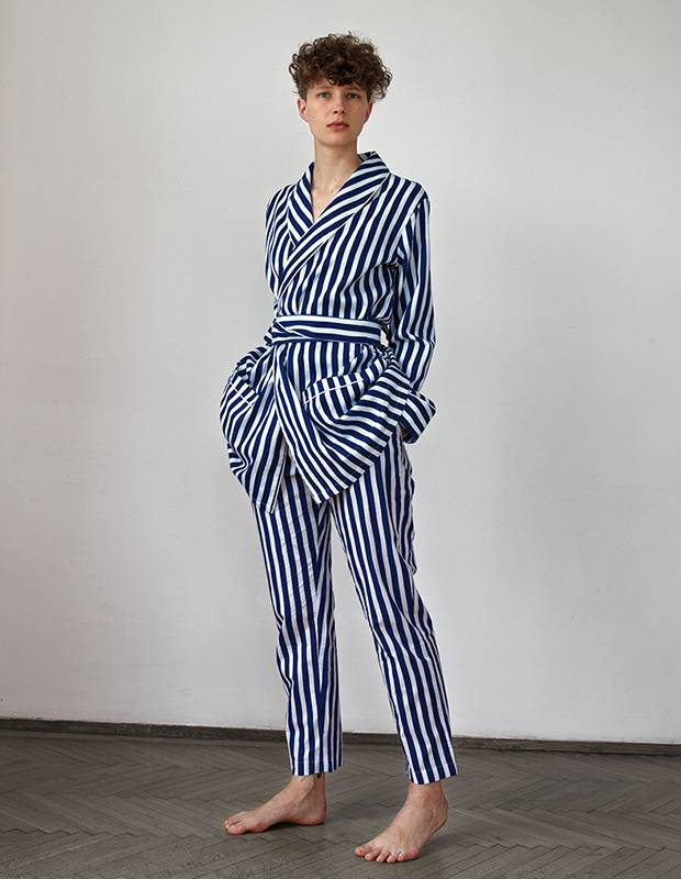The sleepwear line P.Le Moult is inspired by the wardrobe of butterfly hunter Eugène Le Moult.
