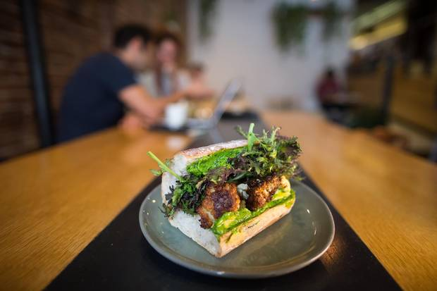 Save for mayonnaise, everything at The Birds & The Beets, such as the charred vegetable sandwich, is made in-house with local ingredients.