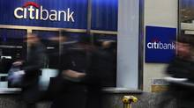 A Citibank branch in New York. When Citigroup, Goldman Sachs and Bank of America report this week, all eyes will be on the pace of their loan growth. (SHANNON STAPLETON/REUTERS)