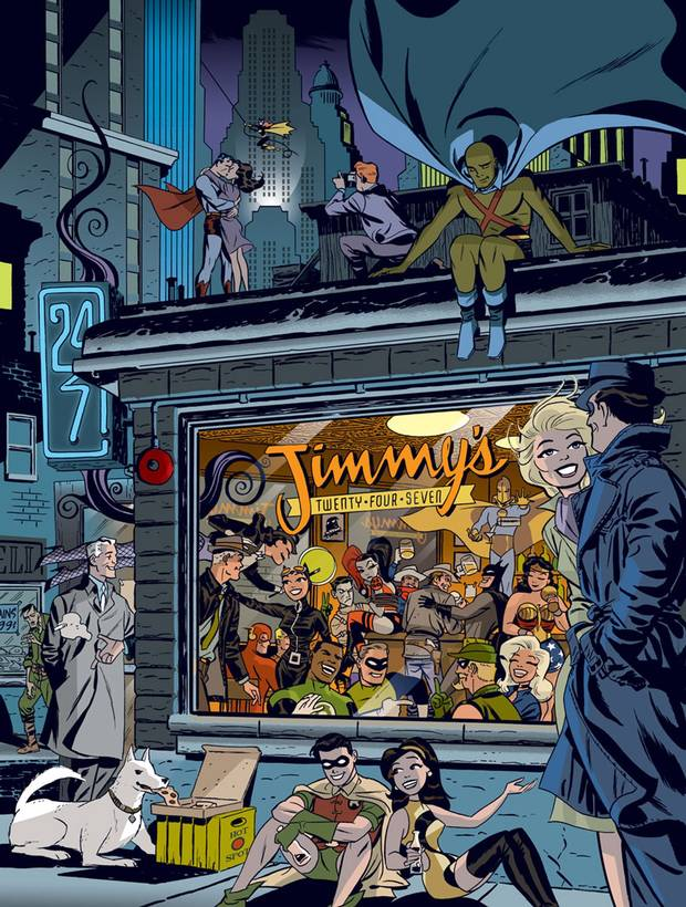 Mr. Cooke's art stood apart with its joyous, optimistic tone, like this tableau of DC Comics heroes enjoying a night out.