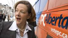Alberta Conservative Leader Alison Redford makes a campaign stop in Calgary, Alta., Thursday, April 5, 2012. Albertans go to the polls on April 23. (Jeff McIntosh/THE CANADIAN PRESS)