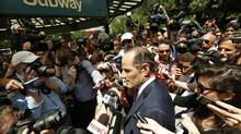 Former New York governor Eliot Spitzer speaks to reporters during a campaign event in New York, July 8, 2013. Spitzer, a 54-year-old Democrat, has set his eye on a less prestigious job - New York City comptroller, a post akin to chief financial officer. He said he wanted to reinvent the position by taking a more activist role, similar to his transformation of the state attorney generalship. (BRENDAN MCDERMID/REUTERS)