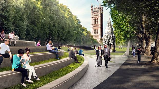 Here's what the park environs would look in summer, with Victoria Tower in the background ...