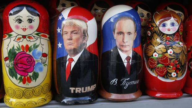 Traditional Russian matryoshka dolls depict Vladimir Putin and Donald Trump at a street souvenir shop in St. Petersburg on Jan. 20, 2017.