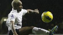 Tottenham Hotspur's Jermain Defoe, controls the ball as he plays against West Bromwhich Albion during their English Premier League soccer match at Tottenham's White Hart Lane stadium in London, Tuesday, Jan. 3, 2012. (AP Photo/Alastair Grant) (Alastair Grant/AP)