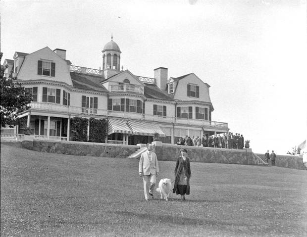President Calvin Coolidge and his wife at White Court in Swampscott.
