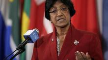 Navi Pillay, United Nations high commissioner for human rights, answers questions during a recess of Security Council consultations on Monday.