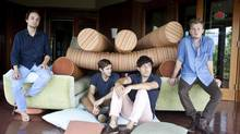 'There were no rules, no clear direction,' Grizzly Bear co-frontman Daniel Rossen, left, says of recording Shields. From left: Daniel Rossen, Christopher Bear, Edward Droste and Chris Taylor, of the band Grizzly Bear, at the Allaire Studios near Woodstock, N.Y., Aug. 12, 2012. (PHIL MANSFIELD/NYT)