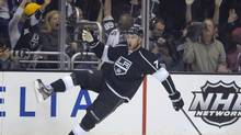 Los Angeles Kings centre Jeff Carter celebrates his goal against the San Jose Sharks during the first period in Game 2 of a second-round NHL Stanley Cup playoff series, Thursday, May 16, 2013, in Los Angeles. (Mark J. Terrill/AP)