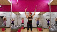 Rory Lindo leads a Rock 'n' Roar fitness class. (Tim Fraser for The Globe and Mail)