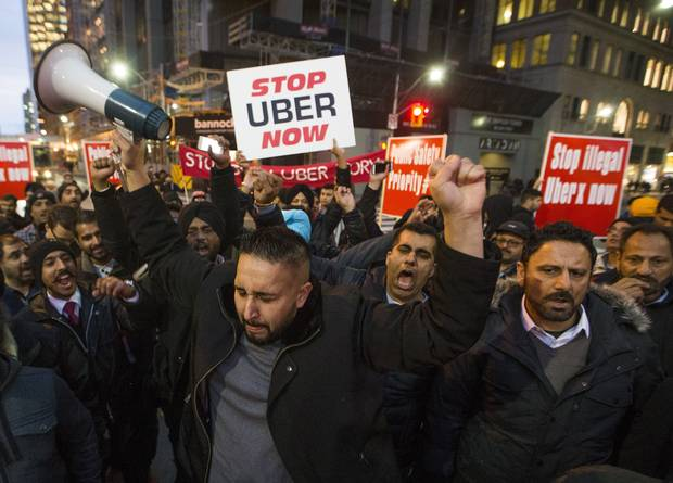 Taxi drivers protesting against Uber in Toronto in December of 2015.