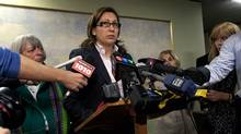 Toronto councillor Ana Bailao spoke with the media at City Hall in Toronto on October 17, 2012, announcing she will be pleading not guilty to impaired driving charges. (Deborah Baic/The Globe and Mail)
