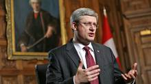 Canada's Prime Minister Stephen Harper speaks before the start of an interview with Reuters in his office on Parliament Hill in Ottawa Feb. 3, 2012. (CHRIS WATTIE/REUTERS/CHRIS WATTIE/REUTERS)
