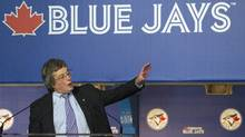 The Toronto Blue Jays president and CEO Paul Beeston introduces the teams new uniforms on Nov. 18, 2011. (Nathan Denette/The Canadian Press/Nathan Denette/The Canadian Press)