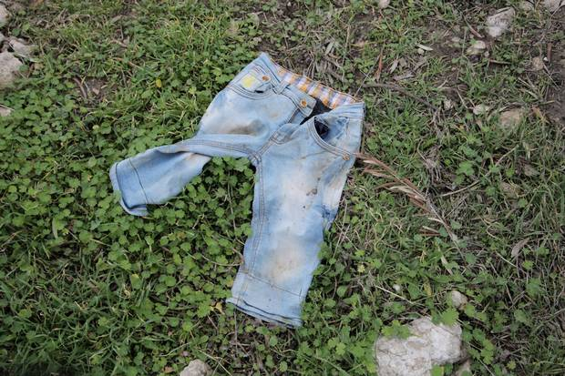 A child's trousers, abandoned in the olive grove near Ayvalik.