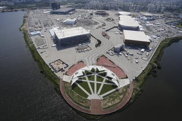 An aerial view of The Olympic Park in Barra da Tijuca.